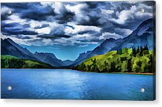 Painting Of A Lake And Mountains Acrylic Print