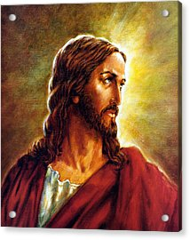 Painting Of Christ Acrylic Print by John Lautermilch