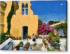 Painting Of Paleokastritsa Monastery Acrylic Print by George Atsametakis