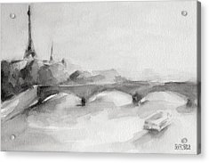 Painting Of Paris Bridge On The Seine With Eiffel Tower Acrylic Print by Beverly Brown