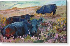 Painting Of Three Black Cows In Landscape Without Sky Acrylic Print