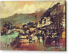 Painting Of Village With A Bridge And Acrylic Print