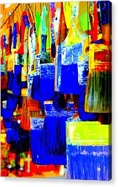 Painting Paintbrushes  Acrylic Print by Mamie Gunning