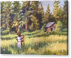 Painting Plein Aire In Idaho Acrylic Print