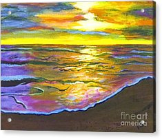 Painting Sanibel Island Beach Acrylic Print by Judy Via-Wolff