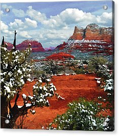 Painting Secret Mountain Wilderness Sedona Arizona Acrylic Print by Bob and Nadine Johnston