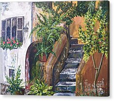 Painting    Siesta Steps Acrylic Print by Judy Via-Wolff
