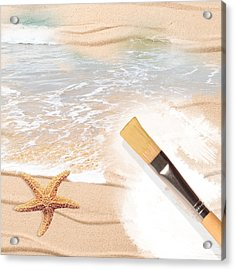 Painting The Beach Acrylic Print by Amanda Elwell