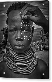 Painting The Face Of A Karo Tribe Girl (omo Valley-ethiopia) Acrylic Print