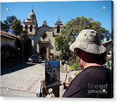 Painting The Mission Acrylic Print by Eva Kato