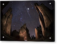 Painting The Needles Under The Geminids Meteor Shower Acrylic Print