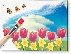 Painting Tulips Acrylic Print by Amanda Elwell