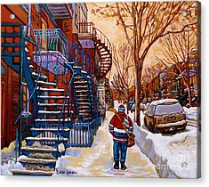 Paintings Of Montreal Beautiful Staircases In Winter Walking Home After The Game By Carole Spandau Acrylic Print