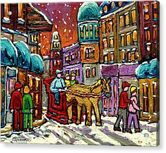 Paintings Of Old Quebec Magical Vieux Port Montreal City Scenes Caleche In Winter Carole Spandau Acrylic Print by Carole Spandau