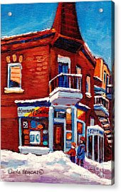 Paintings Of Verdun Depanneur 7 Jours Montreal Winter Street Scenes By Carole Spandau Acrylic Print by Carole Spandau