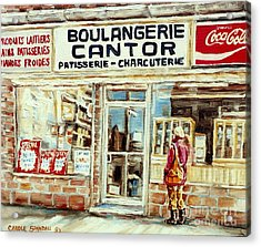 Paintings Of Vintage Montreal City Scenes Cantors Bakery West End Montreal Acrylic Print by Carole Spandau