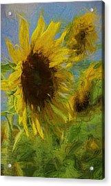 Painty Sunflower Acrylic Print