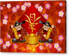 Pair Chinese Money God Banner Welcoming Spring New Year Acrylic Print