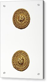 Pair Of Disk Earrings Unknown Etruria Late 6th Century B Acrylic Print by Litz Collection