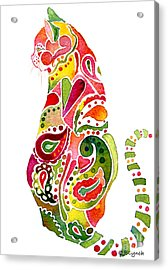Acrylic Print featuring the painting Paisley Cat 2 by Jo Lynch
