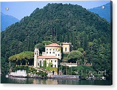 Acrylic Print featuring the photograph Palace At Lake Como Italy by Greta Corens