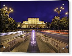 Palace Of Parliament At Night Acrylic Print by LordRunar