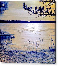 Pale Apricot Light Over Lake Ice - Square Acrylic Print