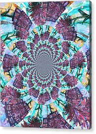 Palette Knife Flowers Kaleidoscope Mandela Acrylic Print by Genevieve Esson