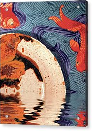 Palisander Stoneware Against F Schumacher Fabric Acrylic Print