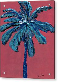 Palm On Pink  Acrylic Print by Oscar Penalber