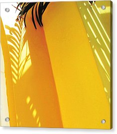 Palm Shadow On Yellow Wall - Square Acrylic Print