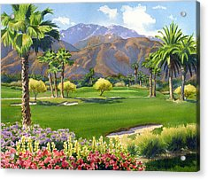 Palm Springs Golf Course With Mt San Jacinto Acrylic Print by Mary Helmreich