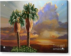 Acrylic Print featuring the painting Palm Tree Cabo Sunset by Tim Gilliland