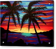 Palm Tree Sunset Acrylic Print by Virginia Forbes