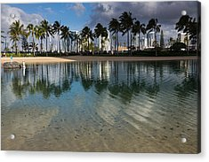 Palm Trees Crystal Clear Lagoon Water And Tropical Fish Acrylic Print
