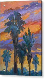 Palms And Sunset Acrylic Print by Diane McClary