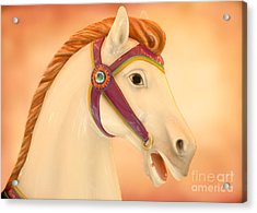 Palomino Carousel Horse Acrylic Print by Sabrina L Ryan