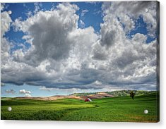 Palouse Country Barn With Storm Clouds Acrylic Print