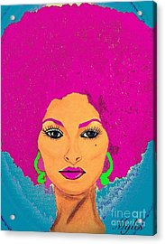 Pam Grier Bold Diva C1979 Pop Art Acrylic Print by Saundra Myles