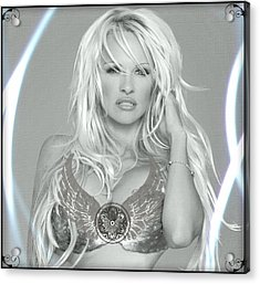 Pamela Anderson - Angel Rays Of Light Acrylic Print by Absinthe Art By Michelle LeAnn Scott