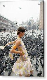 Pamela Barkentin In The Piazza San Marco Acrylic Print by George Barkentin