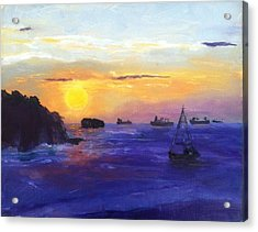 Acrylic Print featuring the painting Panama Sunrise by MaryAnne Ardito