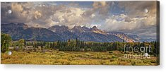 Acrylic Print featuring the photograph Panaroma Clearing Storm On A Fall Morning In Grand Tetons National Park by Dave Welling