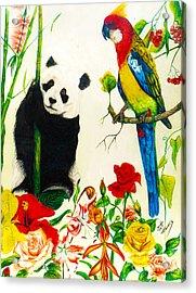 Panda And Parrot Acrylic Print