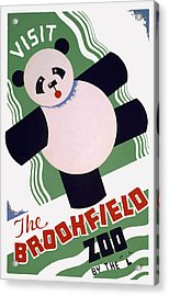 Acrylic Print featuring the painting Panda At Brookside by American Classic Art