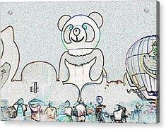 Panda Balloon Sketch Acrylic Print