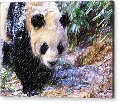 Acrylic Print featuring the painting Panda Bear Walking In Forest by Lanjee Chee