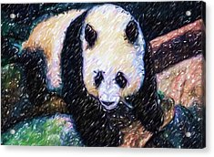 Acrylic Print featuring the painting Panda In The Rest by Lanjee Chee