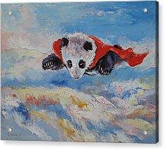 Panda Superhero Acrylic Print by Michael Creese