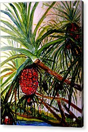Acrylic Print featuring the painting Pandanus Palm Fruit  by Jason Sentuf